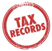 Tax Records words in a round red ink stamp — Foto Stock