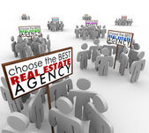 Choose Best Real Estate Agency People Around Signs Agents — Stock Photo