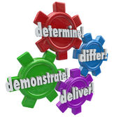 Determine, differ, demonstrate and deliver words on four gears — Stock Photo
