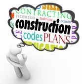 Construction words in a thought cloud over a thinking person — Stock Photo