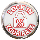 Lock In Your Rate words on a button — Stok fotoğraf