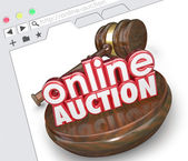 Online Auction 3d words with wood gavel — Stock Photo