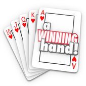A Winning Hand words on a royal flush in cards — Stock Photo