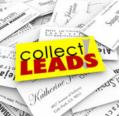 Collect Leads words on a pile of business cards — Stock Photo