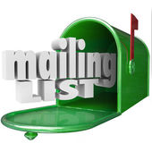 Mailing List words in 3d letters and a mailbox — Stock Photo