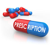 Prescription word on a 3d red and blue pill — Foto Stock