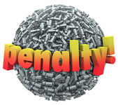 Penalty word in 3d letters on a ball — Stock Photo