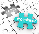 Acceptance word on a 3d blue puzzle piece and a hole with the word Peace — Stock Photo