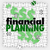 Financial Planning words on puzzle pieces — Stock Photo