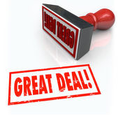 Great Deal words stamped in red ink — Stock Photo