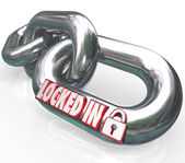 Locked In words on metal chain links — Stock Photo