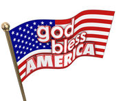 God Bless America words on Unites States flag — Stock Photo