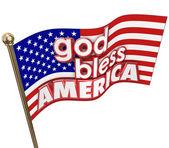 God Bless America words on Unites States flag — Stock Photo