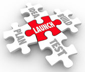 Launch puzzle pieces start new business steps — Stock Photo