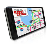 Map to Great Credit words on a smart phone — Foto Stock