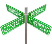 Contacts, Advertising, Canvassing and Referrals words on four way road — Stock Photo