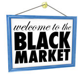 Welcome to the Black Market store sign — Stock Photo