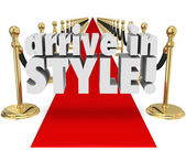 Arrive in Style 3d words on a red carpet — Stock Photo