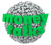 Money Talks words in 3d letters on a ball — Stock Photo