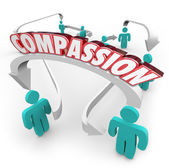 Compassion word on arrows connecting people — Stock Photo