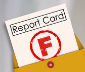 Letter F grade on a report card — Stock Photo