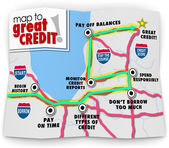 Map to Great Credit words on a road map — Foto Stock