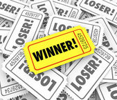 Winner word on yellow ticket — Zdjęcie stockowe