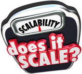 Scalability 3d word and Does It Scale question — Stock Photo