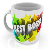 Best Boss words on a white ceramic coffee cup — 图库照片