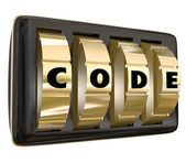 Code word in letters on a set of dials on a lock — Стоковое фото