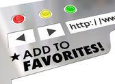 Añadir a favoritos palabras en una pantalla del navegador web — Foto de Stock