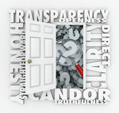Transparency door opening to show a magnifying glass — Stock Photo