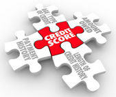 Credit Score words on puzzle pieces — Stock Photo