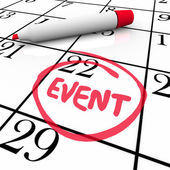 Event Word Circled Calendar Date Special Day Party Meeting — Stock Photo