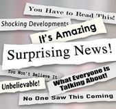 Titulares de noticias sorprendentes rasgados o arrancado de periódicos — Foto de Stock