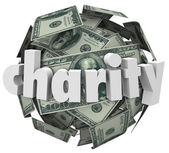 Charity word on a 3d ball of hundred dollar bills — Stock Photo