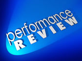 Performance Review in white 3d letters on a blue background — Stockfoto