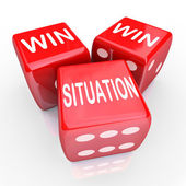 Win Win Situation words on three red dice — Stock Photo