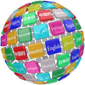 Many international languages in words on a sphere — Stock Photo