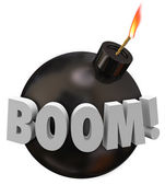 Boom word on a round black bomb — Photo