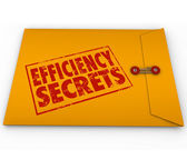 Efficiency Secrets words stamped onto a yellow envelope — Stockfoto