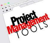 Project Management Tools words on a website screen — Stock Photo
