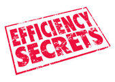 Efficiency Secrets words in a red stamp — Stock fotografie