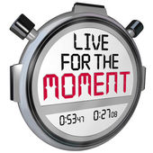 Live for the Moment words on a stopwatch — Foto Stock
