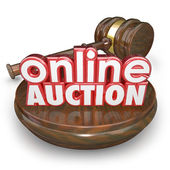 Online Auction 3d words on a wood block — Stock Photo