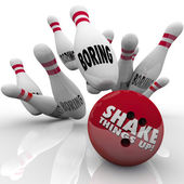 Shake Things Up words on a bowling ball — Stock Photo