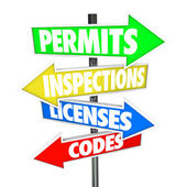 Permits, Inspections, Licenses and Codes words — Стоковое фото