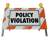 Policy Violation words on a road construction barrier — Foto de Stock