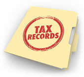 Tax Records words stamped onto a manila folder — Foto de Stock