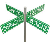 Assistance, Instructions, Directions and Advice words — Stock Photo